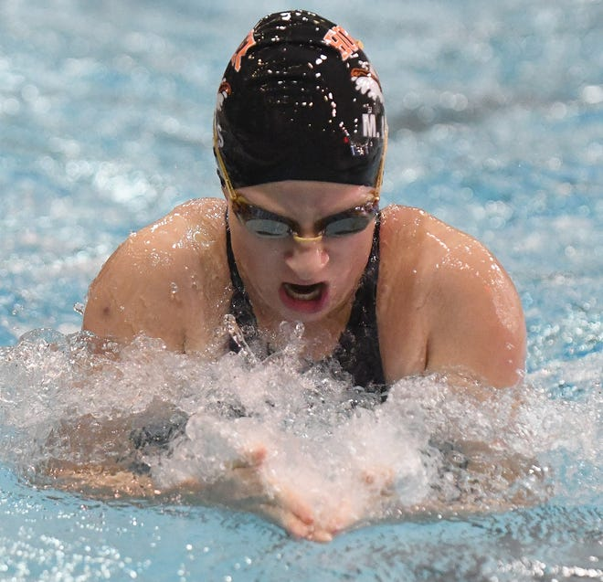 Maya Lewis of Hoover swims the breast stroke portion of the 200 Medley Relay  at CT Braninin Natatorium in Canton for the Swimming State Championships Frday , February 26, 2021