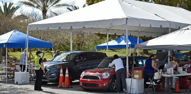 The city of Sarasota hosted a drive-through COVID-19 vaccination clinic Feb. 27-28 in the parking lot of the Van Wezel Performing Arts Hall.