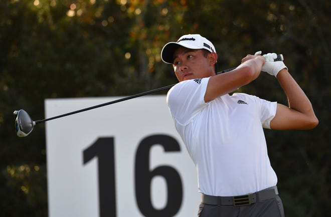 Leader Collin Morikawa hits his tee shot on the 16th hole during the third round of the World Golf Championship-Workday Championship at The Concession on Saturday in Bradenton.