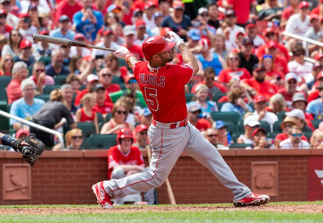 Los Angeles Angels' Albert Pujols homers against the St. Louis Cardinals in 2019 in front of his former fans. [File/The Associated Press]