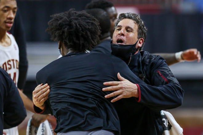 Boston College interim head coach Scott Spinelli celebrates his team's Saturday's victory over Notre Dame.