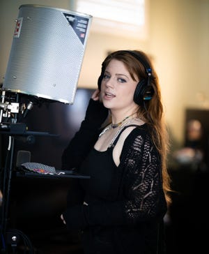Avanah Sophia recording at CHYLD Home Studio in Shrewsbury.