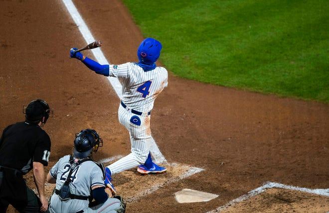 Florida outfielder Jud Fabian belts a home run Friday against Samford at Florida Ballpark.