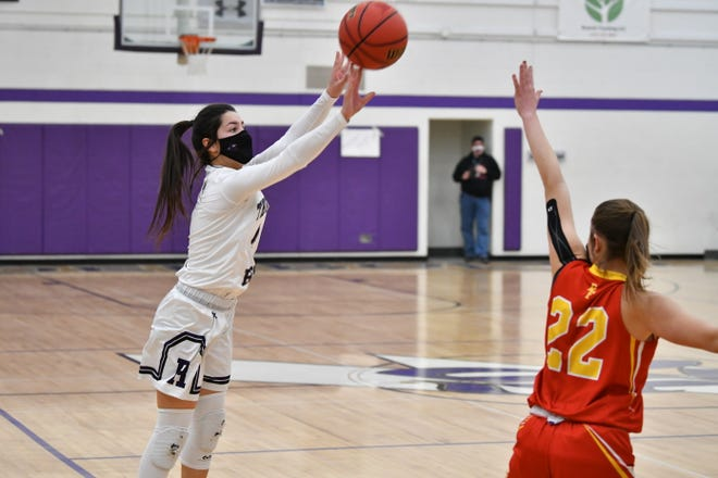 Rye senior Jolee Ortiz fires a 3-pointer in the first half of the Thunderbolts' 52-48 win over Rocky Ford Friday, Feb. 26.