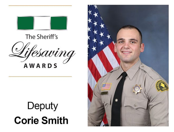 Corie Smith was identified as the deputy under investigation after video showed him kicking a man during an arrest Wednesday, June 16, 2021. He received two lifesaving awards earlier this year, San Bernardino County Sheriff's Department officials announced in February 2021.