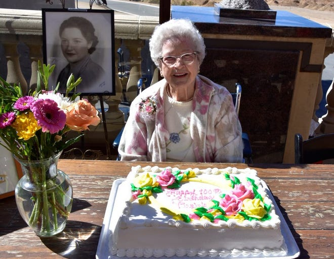 Virginia Dale Quimby Laprise celebrated her 100th birthday on Thursday with a socially-distant open house at Sunset Hills Memorial Park in Apple Valley.