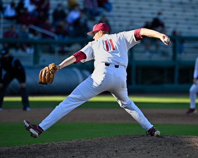 Florida State sixth-year senior Chase Haney sports the No. 11 jersey during the Seminoles' season-opener vs. UNF at Dick Howser Stadium in Tallahassee, FL., on Saturday, Feb. 20, 2021.