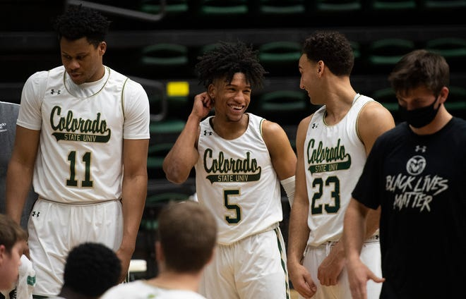 Colorado State guard P.J. Byrd (5) and Colorado State guard Isaiah Rivera (23) speak together during a timeout in the second half of the game at Moby Arena at Colorado State University in Fort Collins, Colo. on Saturday, Feb. 27, 2020.
