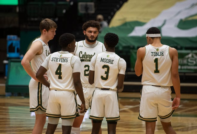 Colorado State waits on the court as officials review a play in the second half of the game at Moby Arena at Colorado State University in Fort Collins, Colo. on Saturday, Feb. 27, 2020.