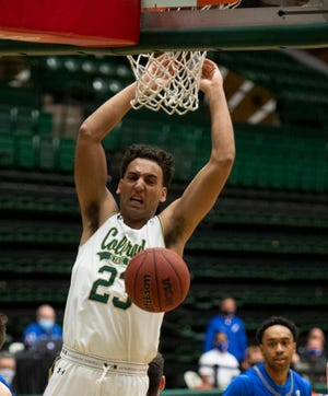 Colorado State guard Isaiah Rivera (23) reacts after dunking the ball in the second half of the game at Moby Arena at Colorado State University in Fort Collins, Colo. on Saturday, Feb. 27, 2020.