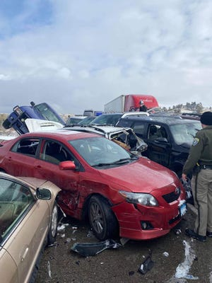 Dozens of vehicles crashed into each other Saturday on an icy interstate highway bridge over the Yellowstone River outside Billings.