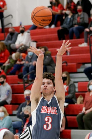 Rossville's Kaleb Del Real (3) goes up for a 3-pointer during the first quarter of an IHSAA boys basketball game, Friday, Feb. 26, 2021 in West Lafayette.