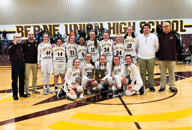 The Berne Union girls' basketball team won their second consecutive Division IV district championship after they defeated Danville, 59-26, Friday night.