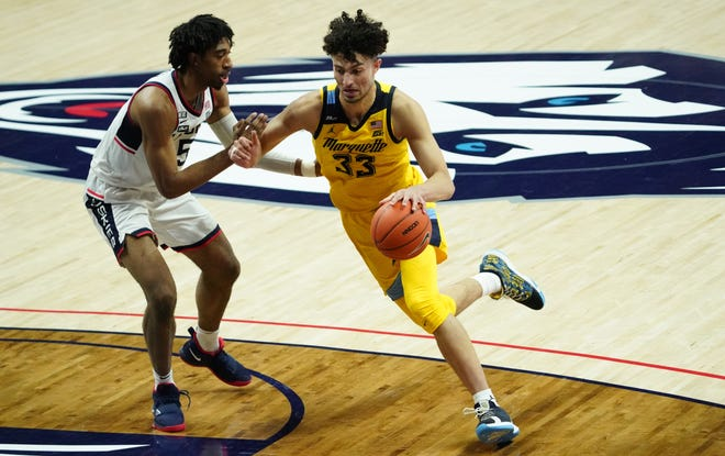 Dawson Garcia averaged 13 points and 6.6 rebounds as a freshman at Marquette. He announced Friday that he is entering his name into the NCAA transfer portal while still working out for NBA teams.
