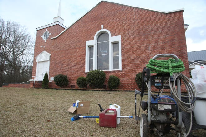 """Vandals spray painted """"Black Power"""" across the front of the Pine Level United Methodist Church in southeastern Montgomery County."""