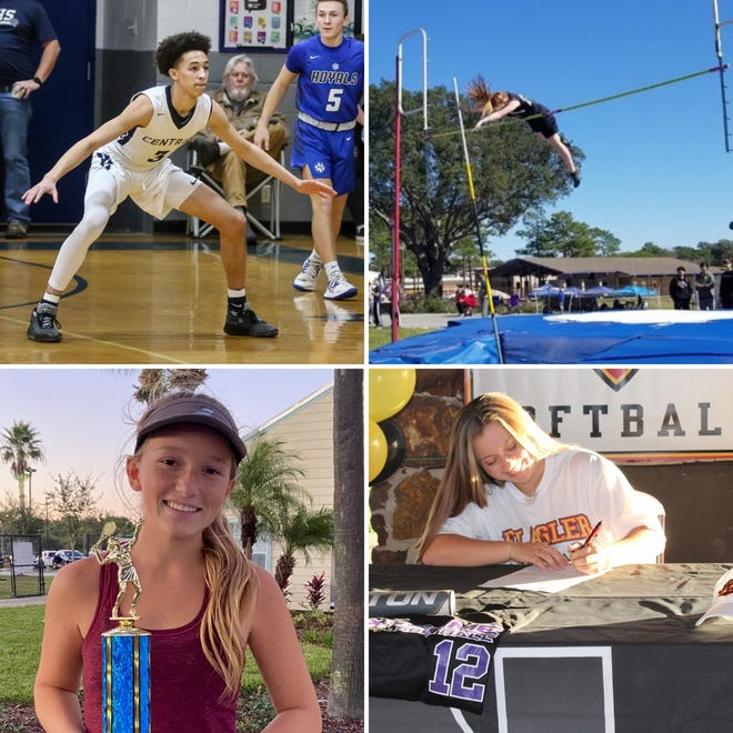 Central School's A.J. Hof (top left), PCA's Caroline Rimmer (top right), Catholic's Gabby Goyins (bottom left) and Navarre's Rachel Hester (bottom right) are among this week's nominees for Athlete of the Week.