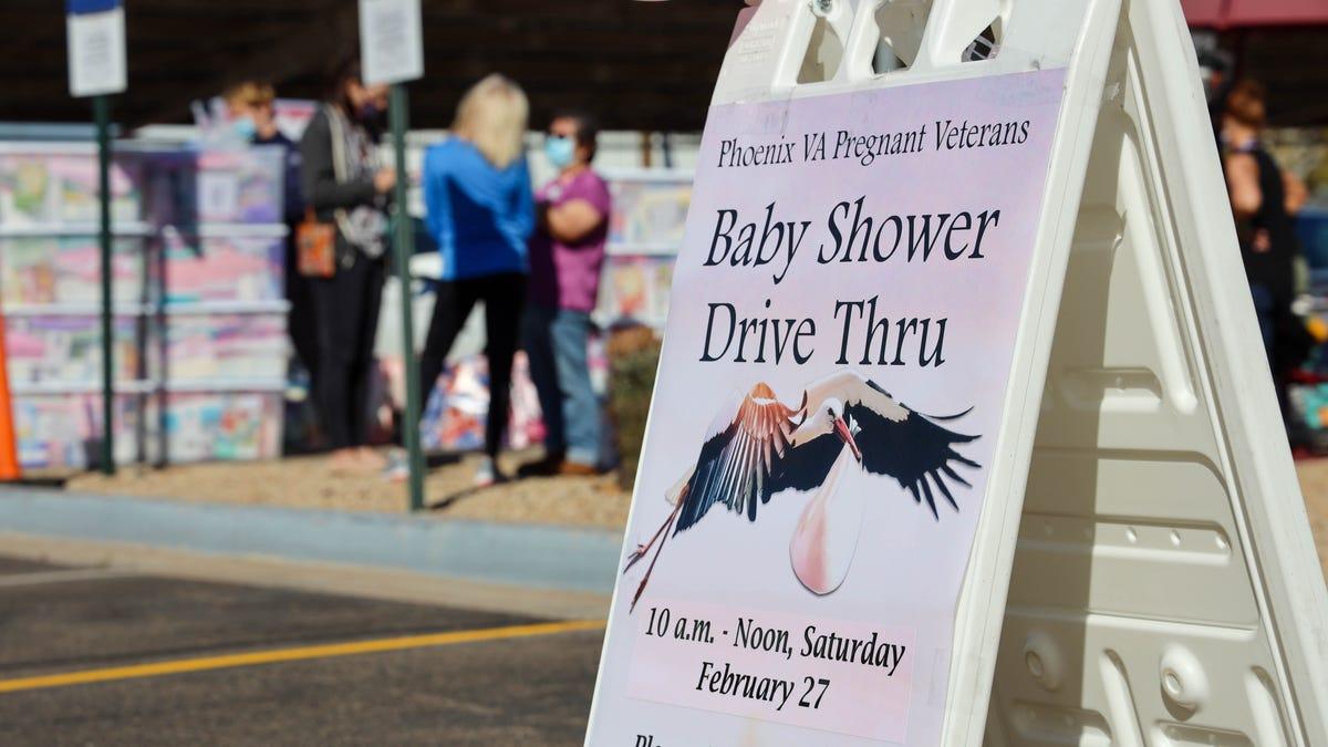 Phoenix VA holds drive-thru baby shower for expectant veterans