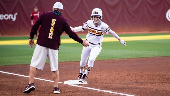 ASU's Makenna Harper homered in the seventh inning Friday at No. 2 UCLA. The Bruins came back to win 2-1 in eight innings in the Pac-12 opener for both teams.