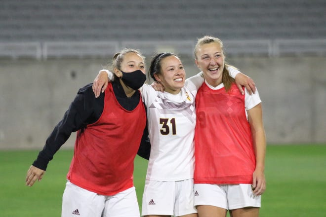 Nicole Douglas, right, scored in the 14th minute Friday, a goal that stood up for Arizona State soccer in a 1-0 win over No. 10 USC at Sun Devil Stadium.
