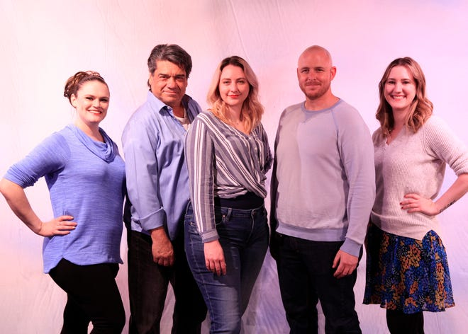 (Left to right) Brianne Gobeski, Alex Gonzalez, Elizabeth Bridgewater, Adam Quinn and Lacey Dixon will perform the music of Neil Diamond March 12- April 11 at the Fountain Hills Theater's outdoor stage.