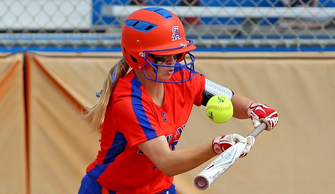 Laynee Crooks bunts at the plate for Central during the championship game in the Concho Classic Softball Tournament on Saturday, Feb. 27, 2021.