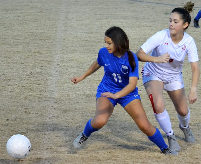 San Angelo Lake View High School's Jazmyne Flores, 11, controls the ball during a District 4-4A match against Sweetwater on Senior Night at Lake View Stadium on Friday, Feb. 26, 2021.
