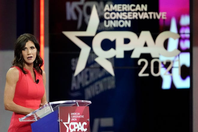 South Dakota Gov. Kristi Noem speaks at the Conservative Political Action Conference (CPAC) Saturday, Feb. 27, 2021, in Orlando, Fla. (AP Photo/John Raoux)