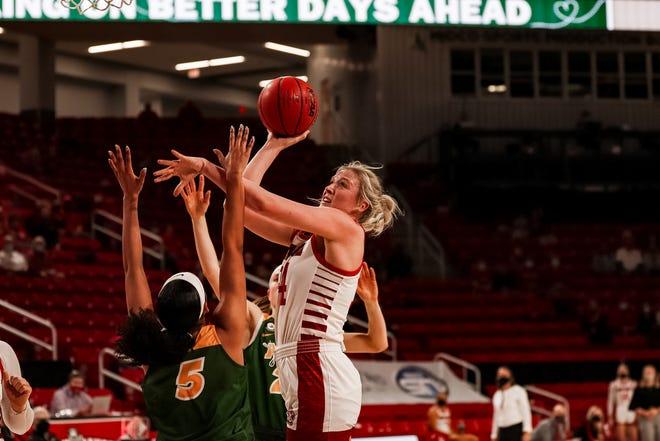 South Dakota's Hannah Sjerven goes up for a shot against North Dakota State on Feb. 27 in Vermillion