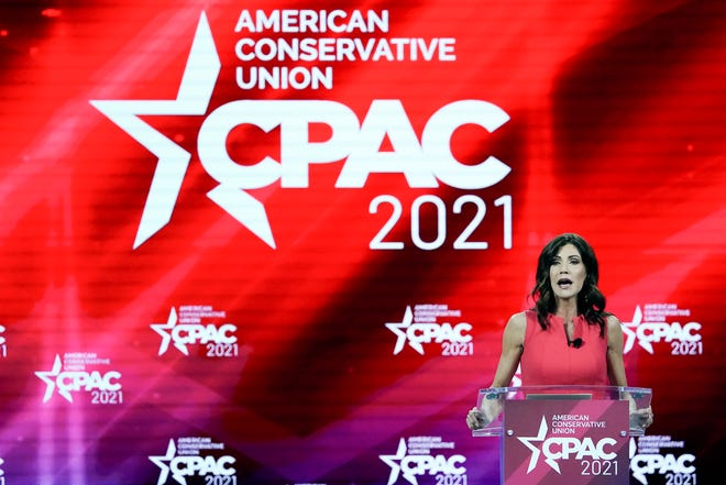 South Dakota Gov. Kristi Noem speaks at the Conservative Political Action Conference (CPAC) Saturday, Feb. 27, 2021, in Orlando, Fla. (AP Photo/John Raoux)