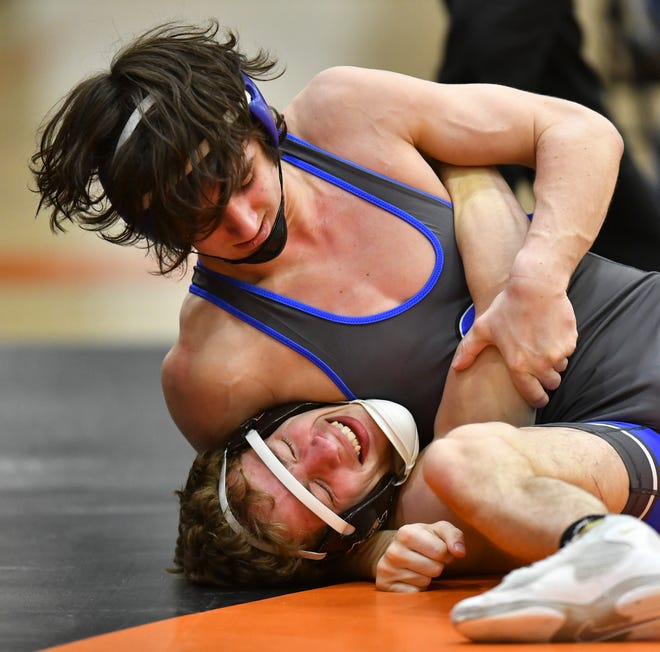 Sartell's Dutch Nordby wrestles in the 138-pound match against Cole Vatnsdal of Alexandria during the triangular Friday, Feb. 26, 2021, at Tech High School.