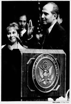 Jun 8, 2002: Philip R. Martinez, former judge of the state 327th District Court, was sworn in Friday as a U.S. District judge alongside his wife, Mayela, at UTEP's Magoffin Auditorium.