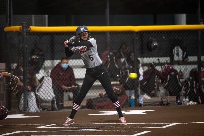 Gabby Salazar bats for Hanks. Hanks High School defeated Ysleta High School in varsity girls softball 7-3 at Hanks High School on Feb. 27, 2021.