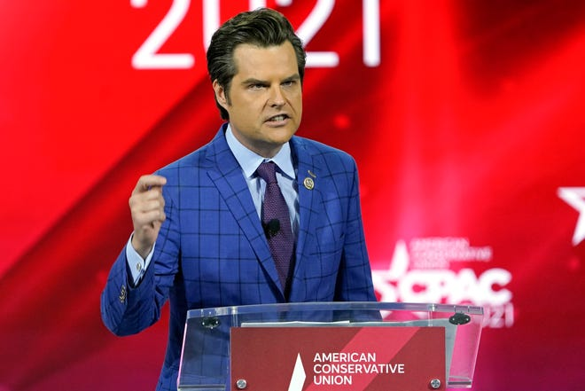 U.S. Rep. Matt Gaetz, R-Fla.,, speaks at the Conservative Political Action Conference (CPAC) Friday, Feb. 26, 2021, in Orlando.