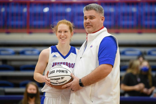 Jefferson senior Livi Blackstock is honored before a game against the Chestatee War Eagles on Thursday, January 28, 2021 at Jefferson High School. Blackstock crossed the 1,000 point threshold earlier in the season.  (Julian Alexander for the Athens Banner-Herald)