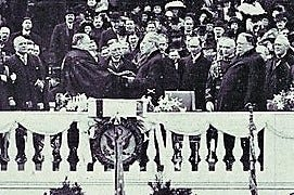 Woodrow Wilson takes the oath of office as president of the United States.