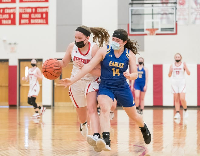 Canisteo-Greenwood's Savannah Ambuski dribbles under pressure from Alfred-Almond's Andrea McMahon (14) Saturday night.