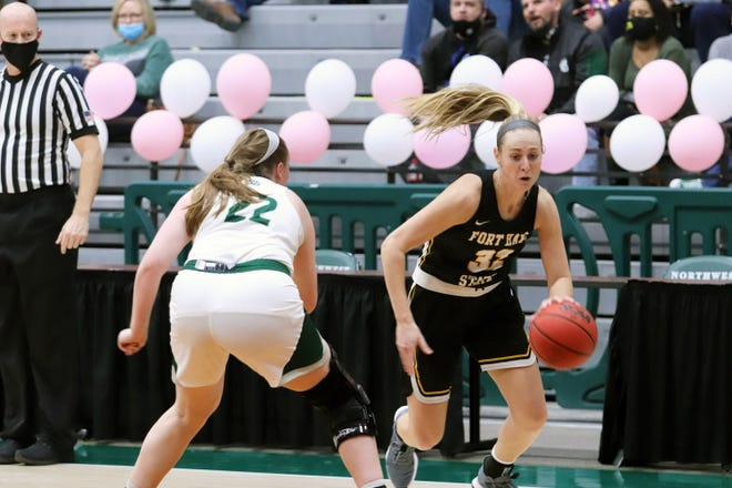 Fort Hays' Whitney Randall dribbles the ball against Northwest Missouri State Saturday at Bearcat Arena.