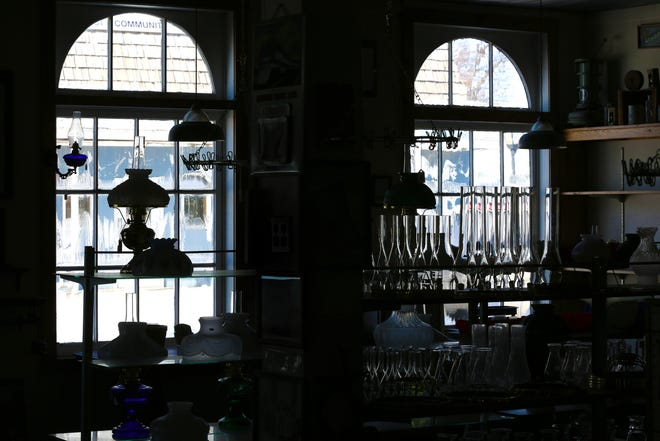 People come to the Yoder Hardware & Lumber store on Main St. in Yoder to browse through their selection of oil lamps and accessories including a selection of Aladdin lamps.