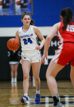 CVCA freshman Haley Hajdu brings the ball ahead during the Royals' semifinal win over Hawken Feb. 24. CVCA claimed the first girls basketball district title in school history Saturday with a 42-34 win over Northwest.