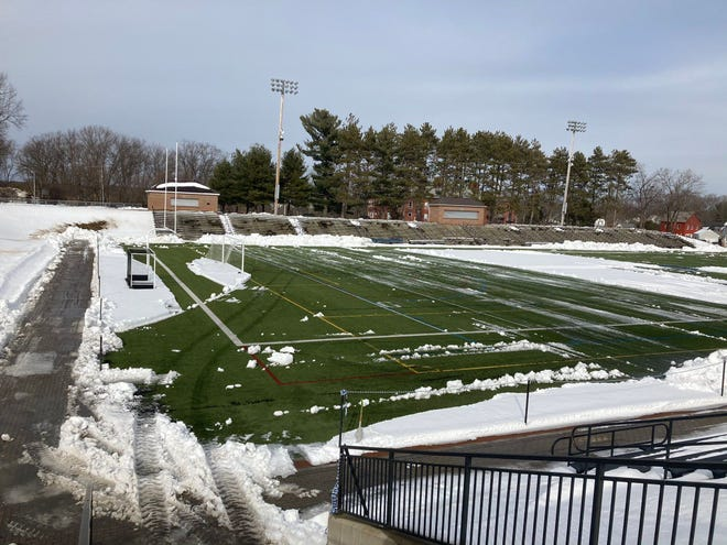 Doyle Field was cleared of snow to allow the Leominster football team to start practicing on Monday, Feb. 22.