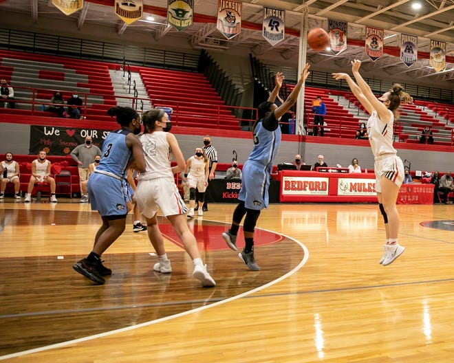 Savanna Killinen connected for a school-record seven 3-pointers for Bedford in a 68-23 victory over Ann Arbor Skyline Saturday. [Photo courtesy of Natalie McCormack]