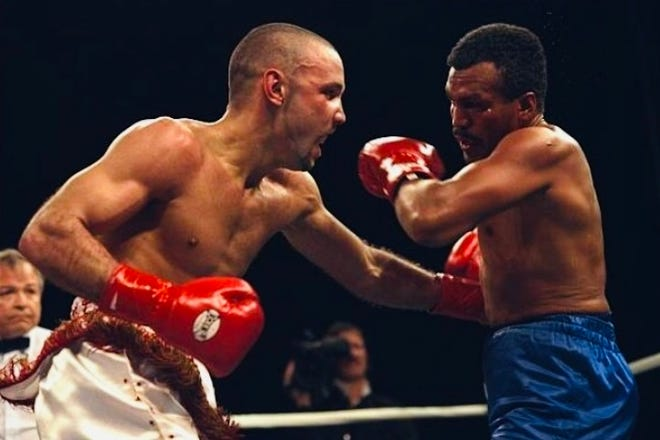 Bronco McKart fights Santos Cardona for the WBO World Championship on March 1, 1996.