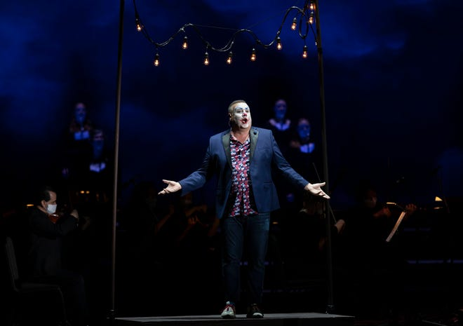 """Baritone Michael Chioldi as Tonio in Leoncavallo's """"Pagliacci,"""" at Palm Beach Opera. The troupe ended its outdoor festival at the iThink Financial Amphitheatre on Saturday night with the verismo classic. PHOTO BY BRUCE R. BENNETT"""