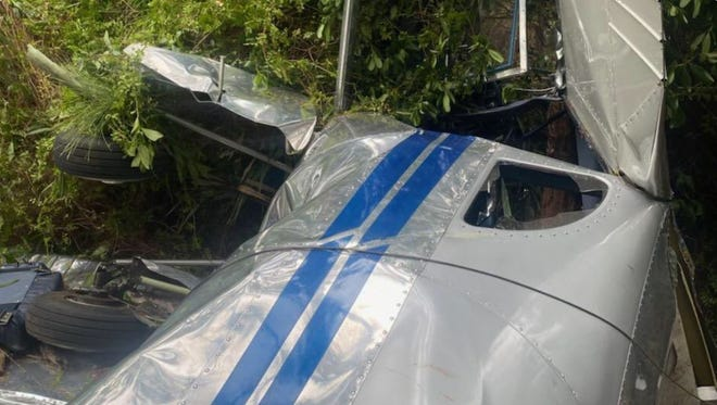 The Martin County Sheriff's Office posted this photo to social media of a single-engine plane that crashed Sunday at the Tailwinds Airport in Martin County and west of Jupiter.