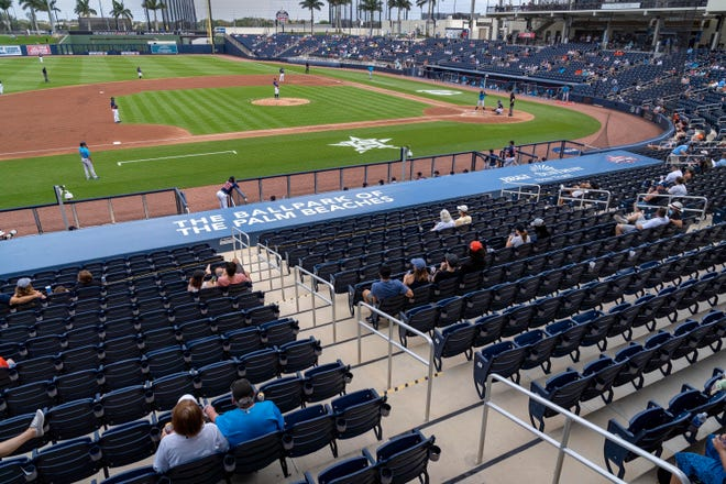 A limited number of fans were allowed to attend Sunday's Grapefruit League opener between the Miami Marlins and Houston Astros at the Ballpark of the Palm Beaches.