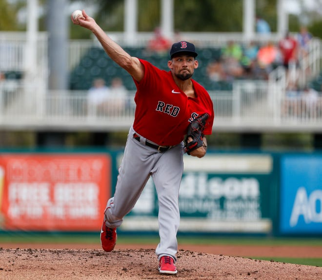 Red Sox starter Nathan Eovaldi pitches in the first inning of the first game in spring training against the Minnesota Twins on Sunday.