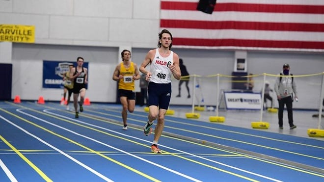 Malone's Noah Schaub won titles in the 3,000-meter run and 5,000 at this weekend's Great Midwest Athletic Conference Indoor Track and Field Championships.