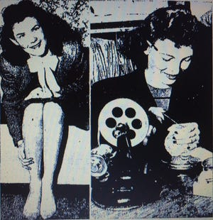 """""""It's no laughing matter, but crying won't help either,"""" said Miss Dorotha Brooks (left) as she modeled a typical stocking """"runner"""" for a Repository photographer in 1946. Fortunately, Stark County had the skills of Anne Guttman (right), who is pictured showing the photographer her skills at repairing the runs in hosiery at a J.C. Penney store in Canton."""