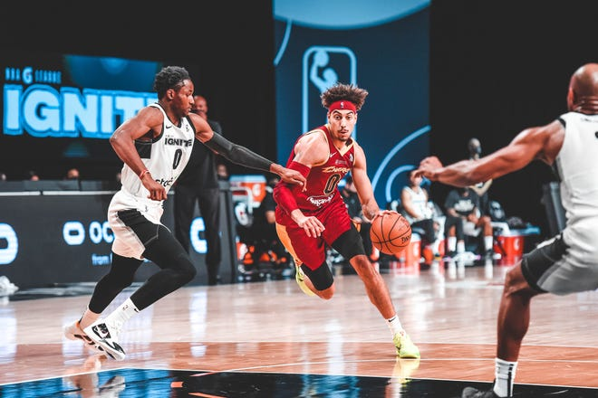 The Charge's Brodric Thomas drives against the G League Ignite on Feb. 27, 2021 at AdventHealth Arena in Orlando, Florida.