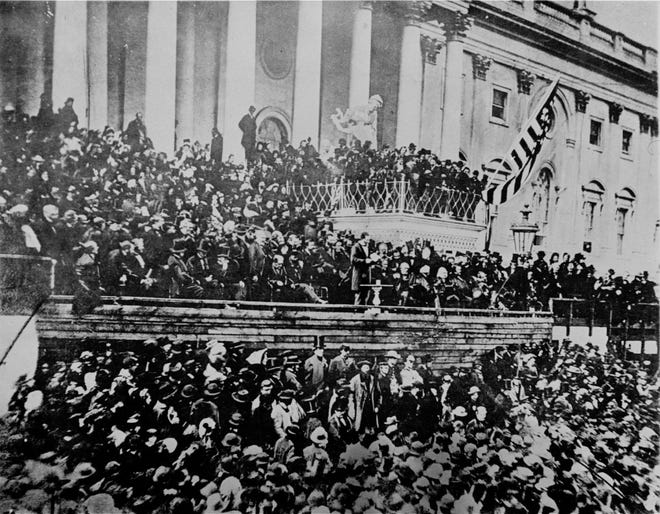 This was the scene in front of the Capitol during Lincoln's second inauguration on March 4, 1865, just six weeks before his assassination.